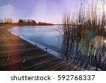 coastline at sunset | Shutterstock . vector #592768337
