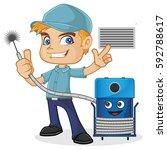 hvac technician holding... | Shutterstock .eps vector #592788617