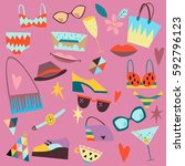 set of fashion elements ... | Shutterstock .eps vector #592796123
