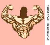 bodybuilders torso with strong... | Shutterstock .eps vector #592810853