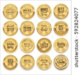 luxury sale golden labels... | Shutterstock .eps vector #592824077
