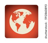 red emblem earth planet icon ... | Shutterstock .eps vector #592860893