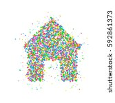 icon house from multicolored...