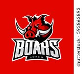 furious boar sport club vector... | Shutterstock .eps vector #592863893