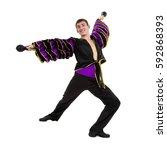one caucasian man samba dancer... | Shutterstock . vector #592868393