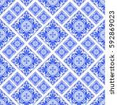 portuguese azulejo tiles.... | Shutterstock . vector #592869023