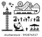 amusement park pictogram set.... | Shutterstock .eps vector #592876517