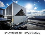 a huge air conditioning unit on ... | Shutterstock . vector #592896527
