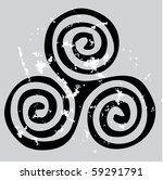black celtic spiral on the gray grunge background - stock vector