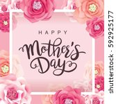 mother's day greeting card with ... | Shutterstock .eps vector #592925177