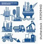 industry icon set clean vector   Shutterstock .eps vector #592929443