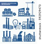 industry icon set clean vector