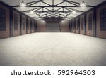 clean empty warehouse interior. ... | Shutterstock . vector #592964303