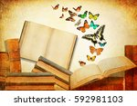 vintage books with open blank... | Shutterstock . vector #592981103