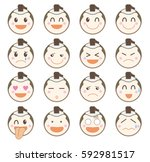icon emotion sticker    samurai ... | Shutterstock .eps vector #592981517