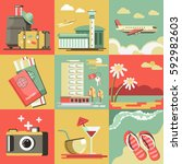 summer travel and holiday... | Shutterstock .eps vector #592982603