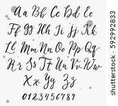 calligraphic vector script font.... | Shutterstock .eps vector #592992833