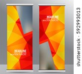 abstract roll up banner... | Shutterstock .eps vector #592993013