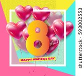 8 march happy women's day.... | Shutterstock .eps vector #593002553