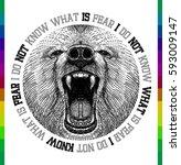 bear face t shirt print | Shutterstock .eps vector #593009147