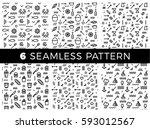 geometric vector set seamless...   Shutterstock .eps vector #593012567