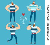 the mighty sailors set.... | Shutterstock .eps vector #593016983