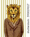 lion in a jacket. vector... | Shutterstock .eps vector #593019317