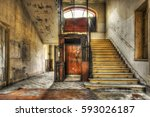 old vintage lift at abandoned... | Shutterstock . vector #593026187