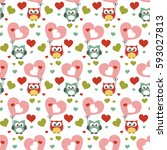 owl seamless pattern. surface... | Shutterstock .eps vector #593027813