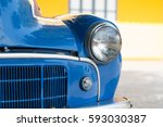 lighting of blue antique car. | Shutterstock . vector #593030387