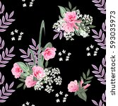 vintage seamless pattern with...   Shutterstock .eps vector #593035973