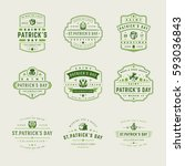 happy saint patricks day retro... | Shutterstock .eps vector #593036843