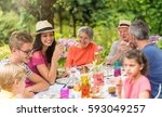 multi generation family... | Shutterstock . vector #593049257