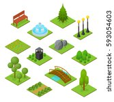 park set isometric view design... | Shutterstock . vector #593054603