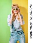 spring girl in fashionable... | Shutterstock . vector #593063093