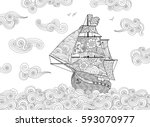 contour image of sailing ship... | Shutterstock . vector #593070977