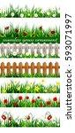 green grass seamless set | Shutterstock .eps vector #593071997