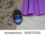 wooden stump. beautiful picture ... | Shutterstock . vector #593073233