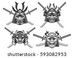 set of the samurai helmets with ... | Shutterstock .eps vector #593082953