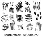 a set of hand drawn scribble... | Shutterstock .eps vector #593086697
