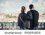 young loving couple enjoying...   Shutterstock . vector #593091833