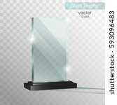 glass plate. glass trophy award.... | Shutterstock .eps vector #593096483