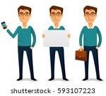 funny cartoon guy in casual... | Shutterstock .eps vector #593107223