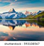 colorful summer sunrise on...   Shutterstock . vector #593108567