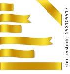vector set of golden ribbon...   Shutterstock .eps vector #593109917