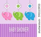baby shower | Shutterstock .eps vector #593115953