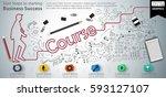 stair steps to starting... | Shutterstock .eps vector #593127107