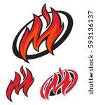 fast fire letter m logo.... | Shutterstock .eps vector #593136137