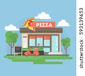 pizza restaurant building.... | Shutterstock .eps vector #593139653