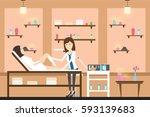 depilation in spa center.... | Shutterstock .eps vector #593139683